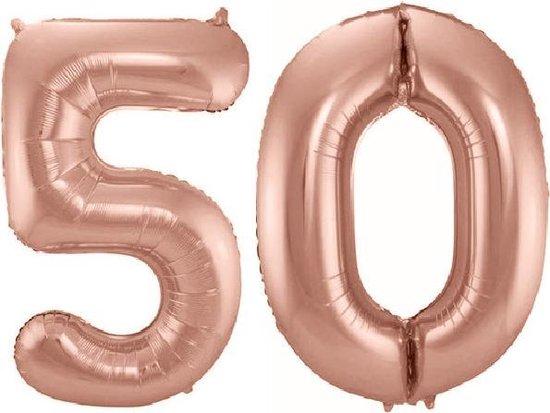 Folie ballon cijfer 50 jaar – 80 cm hoog – Rose goud - met gratis rietje – Feestversiering – Verjaardag – Abraham Sarah - Bruiloft