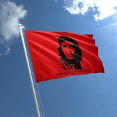 Che Guevara Vlag - Grote Ernesto Che Guevara Flag - Vlag Van Cubaanse Revolutie - Van 100% Polyester - UV & Weerbestendig - Met Versterkte Mastrand & Messing Ogen - 90x150 CM