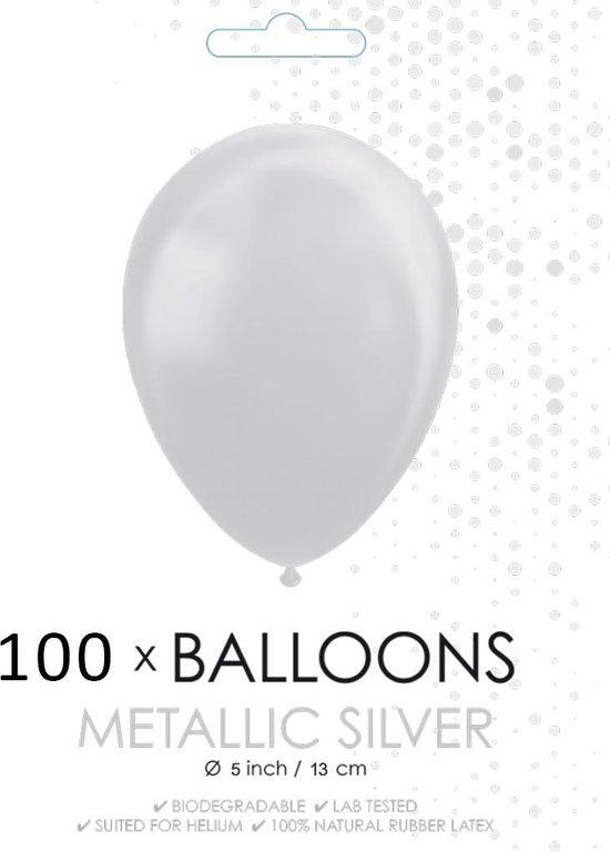 100 Kleine ballonnen metallic zilver.