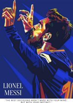 Poster Lionel Messi - FC Barcelona - 60x42cm - Voetbal - Bekende voetballer - UEFA Champions League - WK voetbal 2022 - FIFA - Sport - Kunst - Topcadeau - Wanddecoratie - kleur