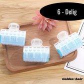 BeautyFit Professionele Haarkrulset 6-delig - NIEUWSTE Krulspelden + incl 3 Klemmen - Watergolf Haarrollers Blauw - Kleefrollers - Hoge kwaliteit Haarkrullers