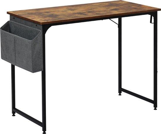 Afbeelding van Modernluxe Bureautafel - Met Opbergzakken - Bruin/Zwart - 50x75x100 cm
