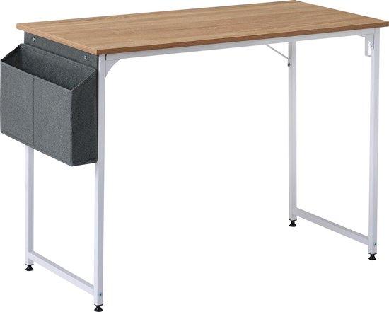 Afbeelding van Modernluxe Bureautafel - Met Opbergzakken - Bruin/Wit- 50x75x100 cm