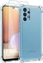 Samsung Galaxy A32 4G Hoesje Transparant & 2X Glazen Screenprotectors - Anti-Shock Hybrid Back Cover