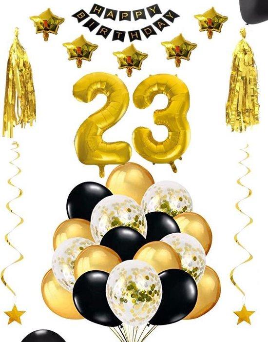 23 jaar verjaardag feest pakket Versiering Ballonnen voor feest 23 jaar. Ballonnen slingers sterren opblaasbare cijfers 23