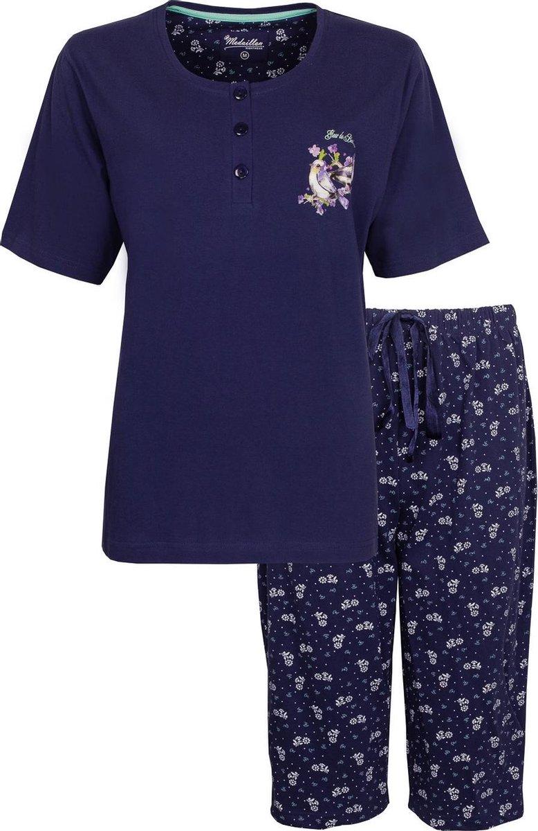 Medaillon Dames Pyjama Drie Kwart Broek Blauw MEPYD1006A Maten: XXL