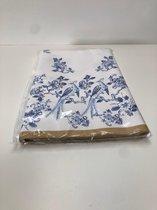 1x tafellaken 138x280cm fsc papier excellent blauw gebloemd tafelkleed