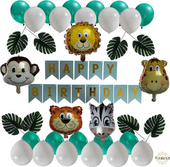 Verjaardag Versiering - Ballonnen Verjaardag - Jungle Decoratie - Jungle Versiering - Slingers Verjaardag - Happy Birthday Slinger - Happy Birthday Ballonnen - Fienosa