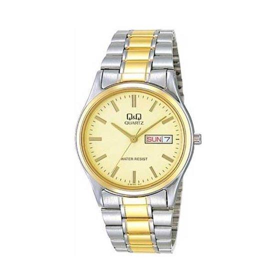 Q&Q heren horloge met Dag en Datum aanduiding goudkleurig/ zilverkleurig BB16-410Y