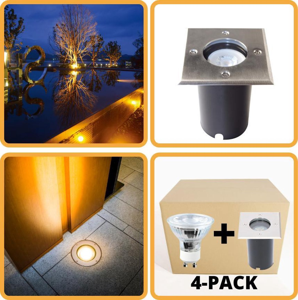 Proventa HeavyDuty LED Grondspots IP67 - Vierkant - 4 x inbouw tuinspots buiten - warm wit