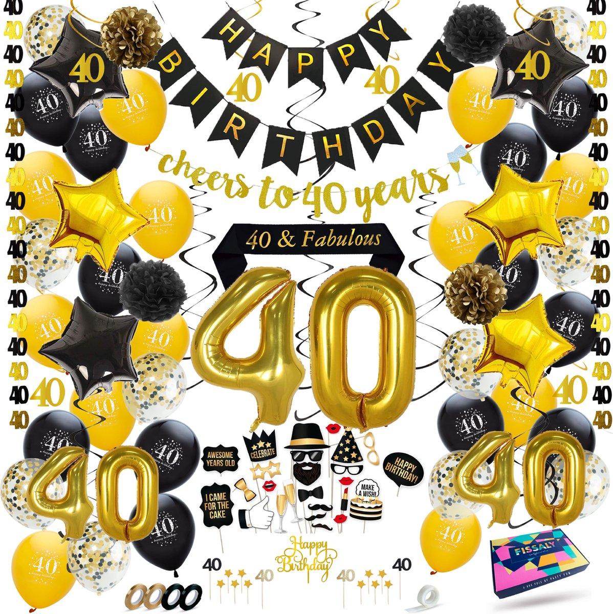 Fissaly® 40 Jaar Verjaardag Decoratie Versiering - Ballonnen – Jubileum Man & Vrouw - Zwart en Goud