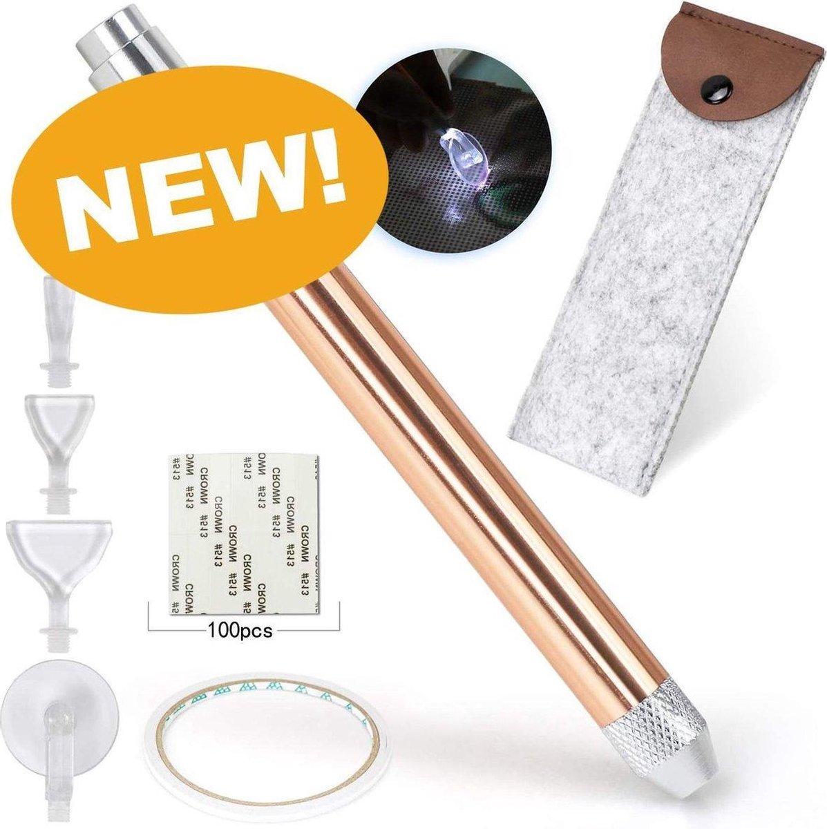Updated 2021: Diamond Painting Pen met Licht 107-Delig - Lichtpen voor Diamond Painting Volwassenen - Diamond Painting Accesoires - Diamond Painting Tools