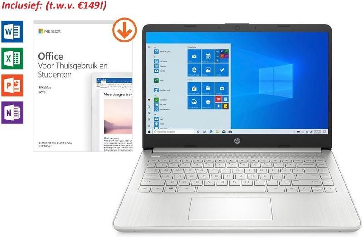 HP 14 inch Laptop - AMD Ryzen 3 - Zilver - 4GB RAM - 128GB SSD - dubbel voordeel: van €549,99 >> €499,99 & tijdelijk met Office 2019 Home & Student 2019 t.w.v. €149!