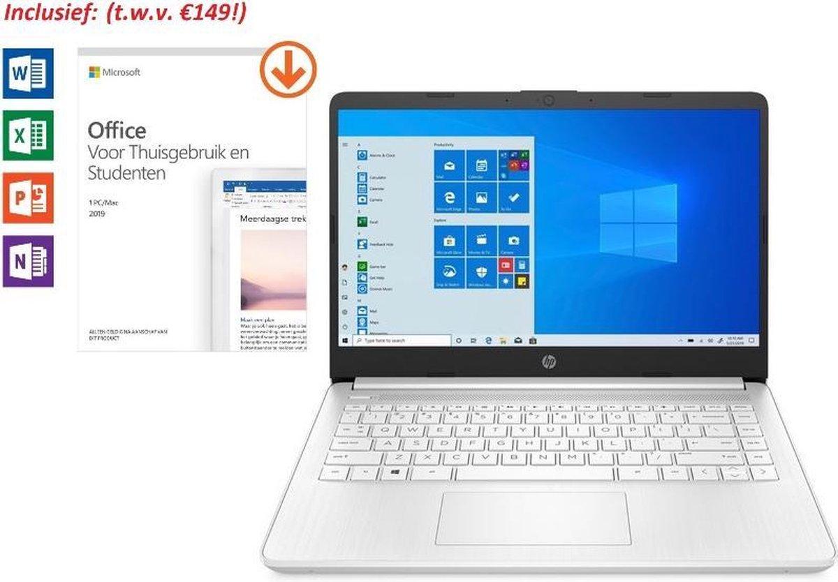 HP 14 inch Laptop - AMD Ryzen 3 - Wit - 4GB RAM - 128GB SSD - dubbel voordeel: van €549,99 >> €499,99 & tijdelijk met Office 2019 Home & Student 2019 t.w.v. €149!