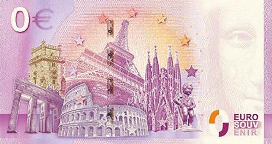 Thumbnail van een extra afbeelding van het spel 0 Euro Biljet 2020 - 75 jaar Vrede en Vrijheid Hotel de Wereld Wageningen