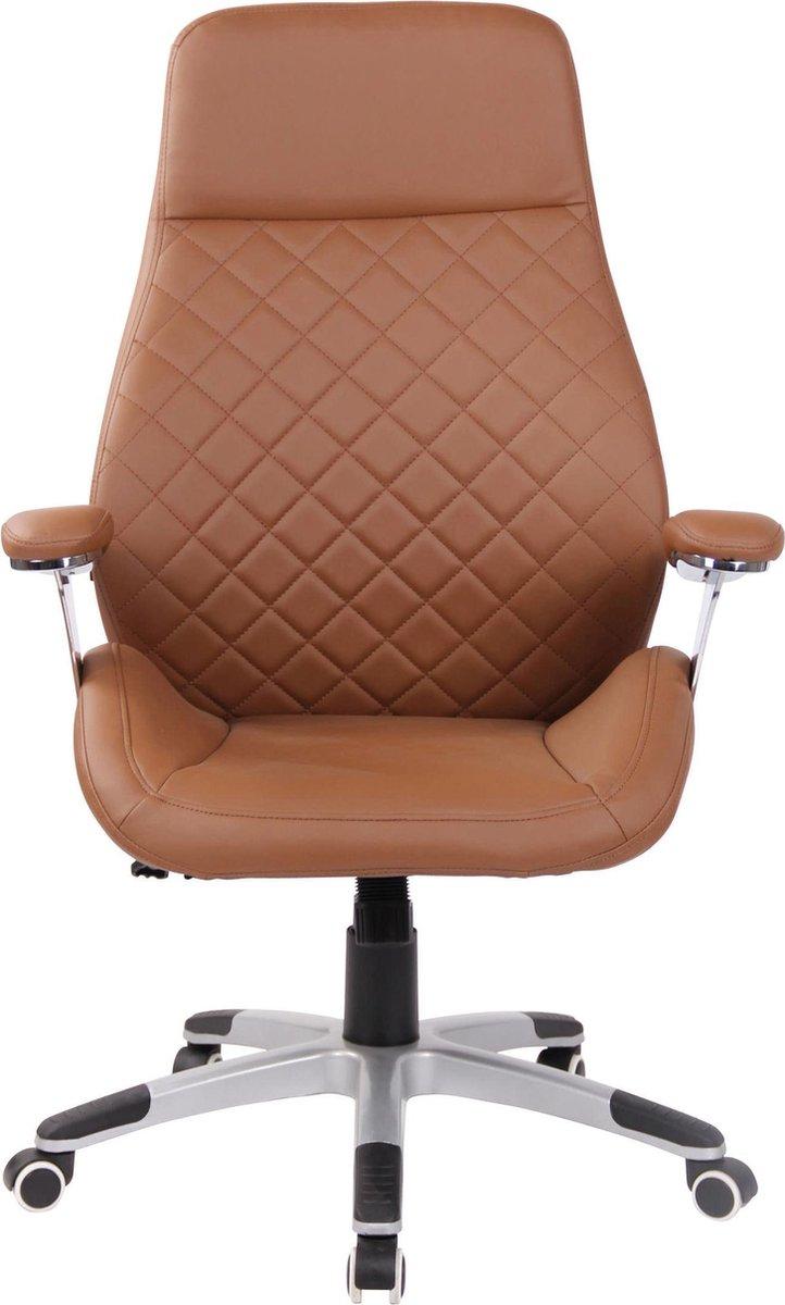 Bureaustoel - Ergonomische bureaustoel - Design - In hoogte verstelbaar - Kunstleer - Lichtbruin - 61x49x126 cm