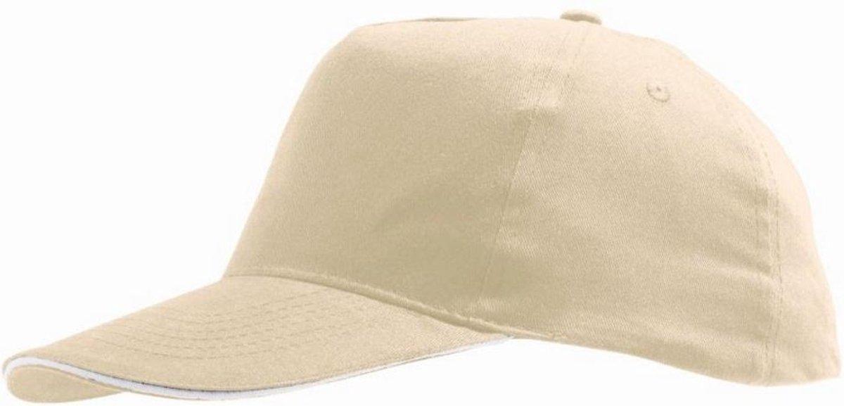 SOLS Unisex Sunny 5 Panel Baseball Cap (Beige/Wit)
