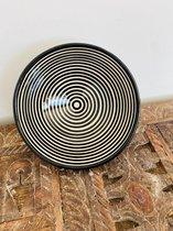 Asfi Aardewerk Schaal | Black White | Handgemaakt | Marokkaanse Aardewerk | 18 cm