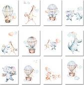 Wenskaarten - Verjaardagskaart - Luchtballon - Set van 12 stuks - Jongen - Meisje - Gedrukt op wit natuurkarton - Verjaardagskaart - Felicitatie - Zonder tekst - Kaartje met een staartje - Lieve dieren - Lief Geboortekaartje