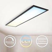 B.K.Licht - LED Paneel 25x100 cm rechthoek - zwart - ultraplatte Plafondlamp met afstandsbediening - dimbaar - CCT - 3000 tot 6500 Kelvin - 2.200 Lumen - 24 Watt