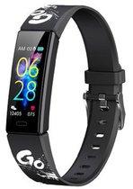 West Watch – Model Wood - Activity Tracker/ Stappenteller - Smartband - Sporthorloge Tieners/Kinderen - Zwart - Go