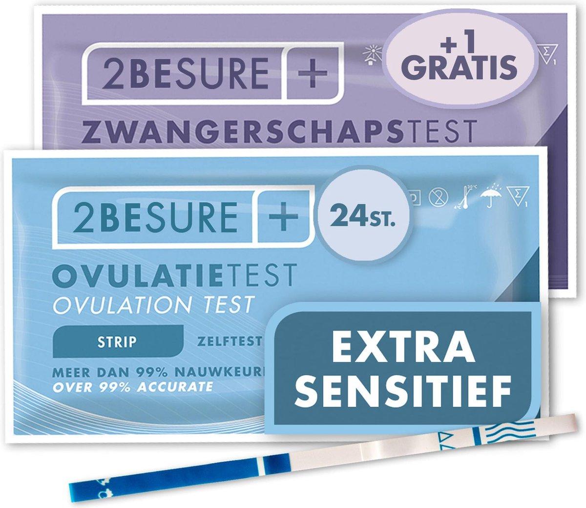 2-BeSure - Extra Sensitieve Ovulatietest - 24 Stuks - Extra GRATIS Zwangerschapstest
