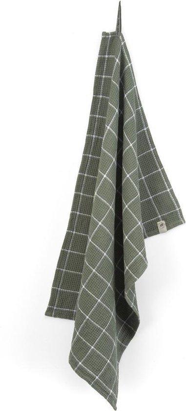 Walra Keukendoek Dry with Cubes - 50x70 - 100% Katoen - Legergroen