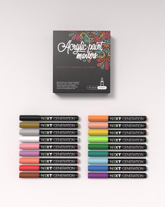 Premium Acryl Stiften 18 stuks - Acrylic navulbare permanent marker painter pen - Acrylverf kleuren - 0.7 mm - knutselen meisjes en jongens - vaderdag cadeautje | Happy Stones
