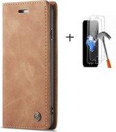– Leren telefoonhoesje Bruin – hoogwaardig leren bookcase Bruin - Luxe iPhone 11 hoesje Bruin – Magneetsluiting voor iPhone 11 – Bruin – met screenprotector iPhone 11