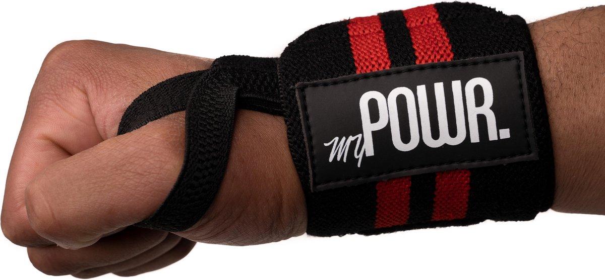 MYPOWR. Wrist Wraps Krachttraining - Polsbeschermer - Twee Stuks - Polsband - Polssteun - Lifting Straps - Rood