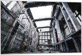 Dibond –Verlaten Fabriekshal– 60x40 Foto op Dibond;Aluminium (Wanddecoratie van metaal)