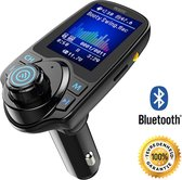 Healtic - Bluetooth FM Transmitter T11D (2020), 120 ° Rotatie Auto Radio Adapter CarKit met 4 Music Play Modes / Hands-free Bellen / TF Kaart / USB Auto Lader / USB Flash Drive / AUX Input / Output 1.44 inch LCD Display/ Bluetooth Carkit 5 in 1