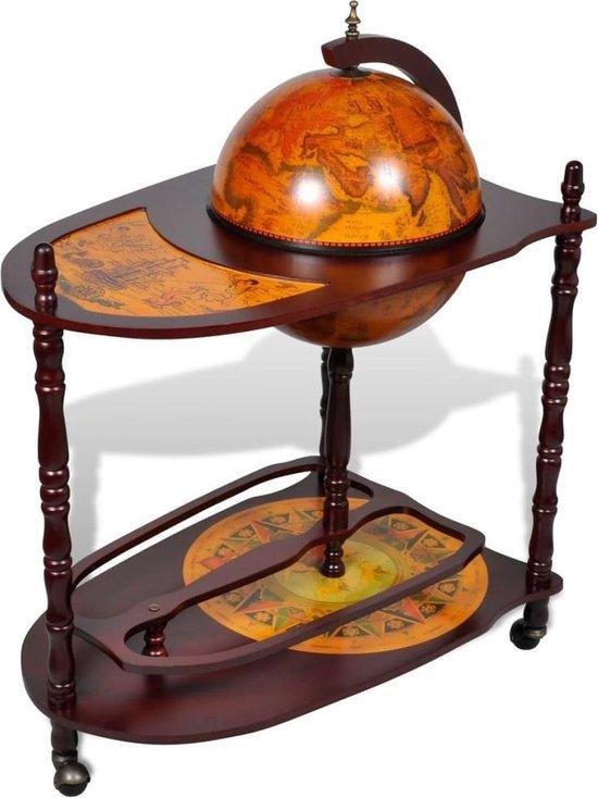 vidaXL Globebar Piet Hein Wijnrek - 77 x 45 x 99 cm - Hout - c.a. 5 flessen - vidaXL