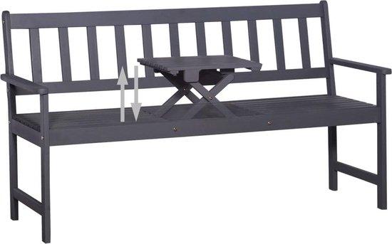 vidaXL Tuinbank met uitklaptafel 158 cm massief acaciahout grijs