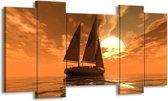 Canvas schilderij Zeilboot | Bruin, Geel, Grijs | 120x65 5Luik