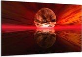 Glasschilderij Zonsondergang | Rood, Oranje, Zwart | 120x70cm 1Luik | Foto print op Glas |  F000338