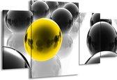 Canvas schilderij Ballen | Zwart, Wit, Geel | 160x90cm 4Luik