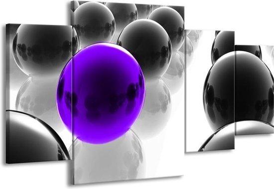 Canvas schilderij Ballen | Zwart, Wit, Paars | 160x90cm 4Luik