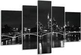Glasschilderij Brug | Grijs, Zwart, Wit | 170x100cm 5Luik | Foto print op Glas |  F001758