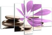 Glasschilderij Spa | Zwart, Paars, Wit | 170x100cm 5Luik | Foto print op Glas |  F004494