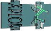 Schilderij | Canvas Schilderij Tekst | Groen, Zwart | 120x65cm 5Luik | Foto print op Canvas