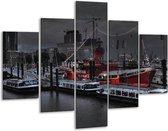 Glasschilderij Boot   Grijs, Zwart, Wit   100x70cm 5Luik   Foto print op Glas    F001617