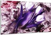 Canvas schilderij Tulpen   Paars, Wit, Roze   120x70cm 1Luik