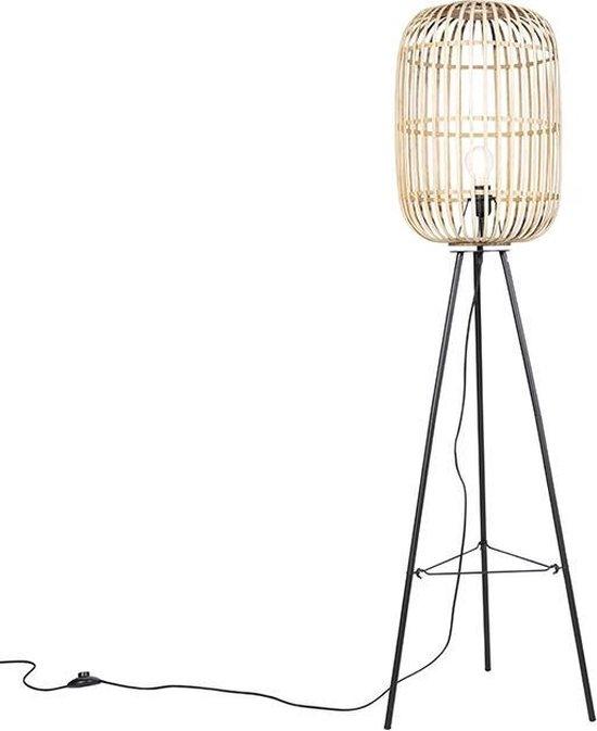 QAZQA manila - Vloerlamp - 1 lichts - H 1390 mm - Beige