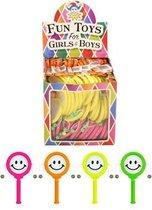 72 Stuks - Spin Smiley Drum - In Traktatiebox - Uitdeelcadeautjes - Uitdeel - Traktatie voor kinderen - Jongens - Meisjes