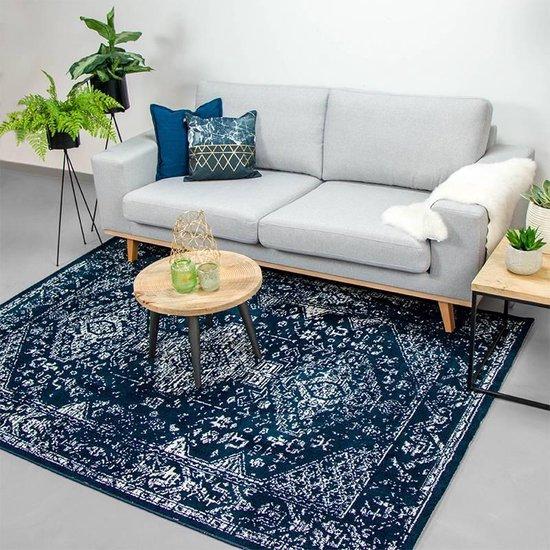 Bol Com Zacht Vloerkleed Ambiance Oriental Blauw Wit 120x170cm