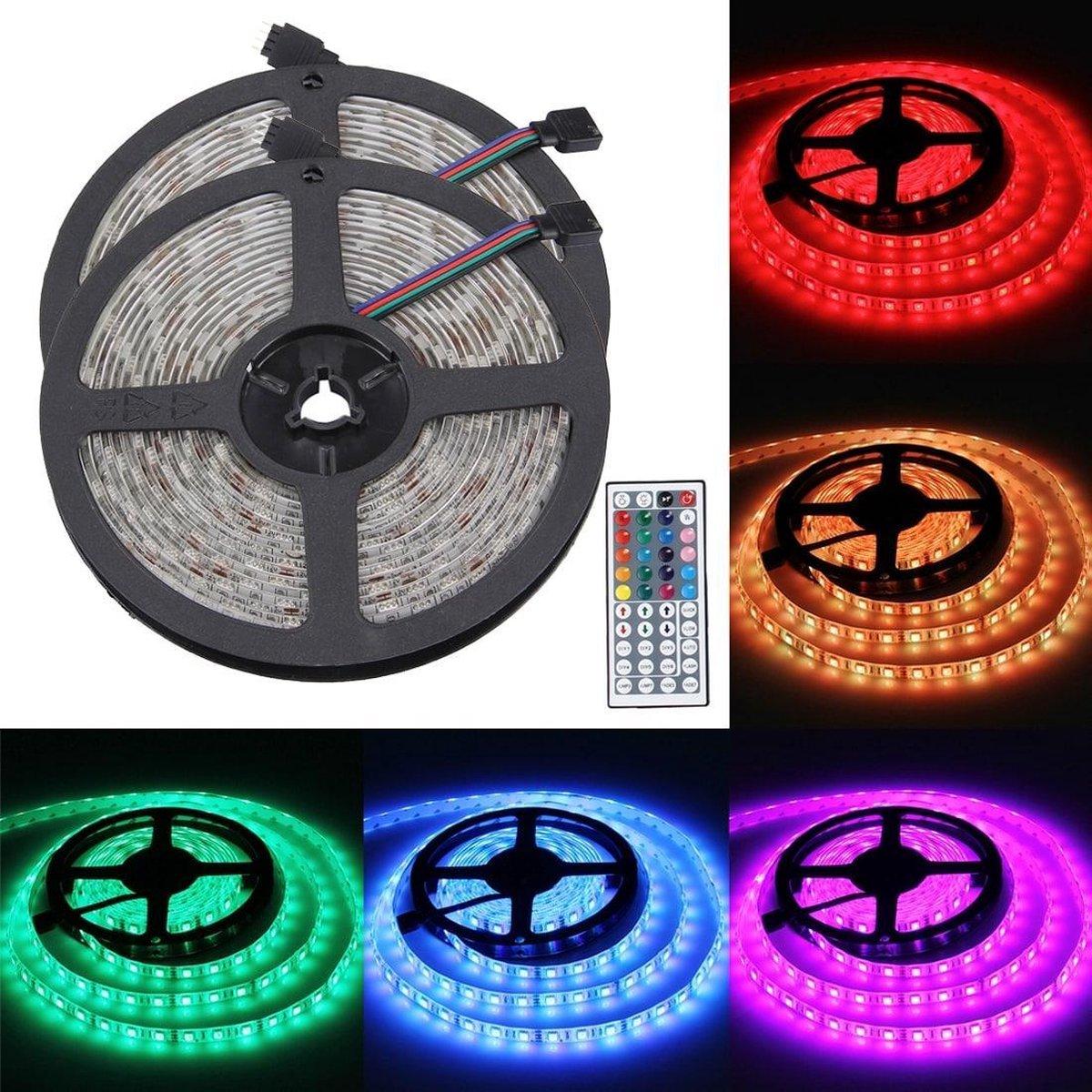 2 stuks Epoxy waterdichte lichtstrip, lengte: 5m, 5050 SMD LED RGB licht met voedingsvermogen en afstandsbediening, 60 LED / m, DC 12V