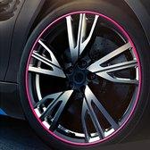 Universele decoratieve krasbestendig stickup 8 m flexibele auto wielnaaf trim decoraties decoratie strip (roze)