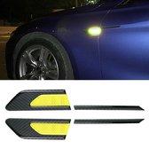 2 STKS Koolstofvezel Auto-Styling Fender Reflecterende Bumper Decoratieve Strip, Innerlijke Reflectie + Externe Koolstofvezel (lichtgeel)