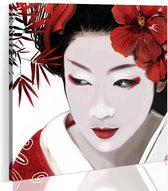 Schilderij - Japanse Geisha, Rood/Wit, 1luik